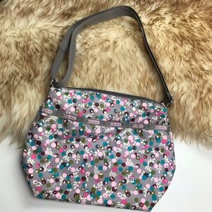 Leaportsac Crossbody Bag Pink Gray Dots
